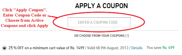 Myntra Coupon Code Field