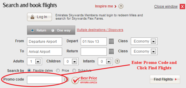 Emirates Promo Code Field