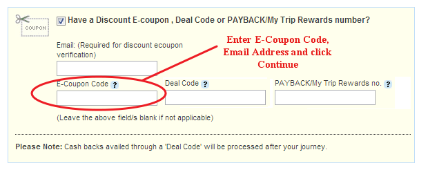 MakeMyTrip Coupon Code Field