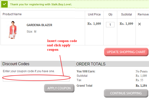 Stalk Buy Love Coupon Code Field